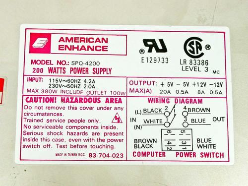 American Enhance 200 W Computer Power Supply SPQ-4200