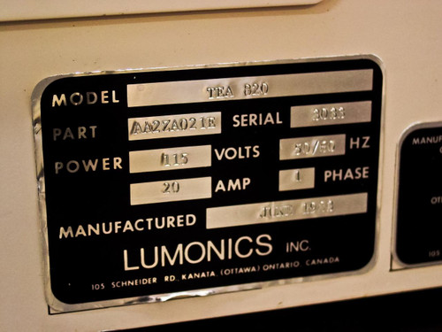 Lumonics TEA-820 Laser N2 CO2 HE Gas Oscillator-Amplifier System 115 VAC - As Is