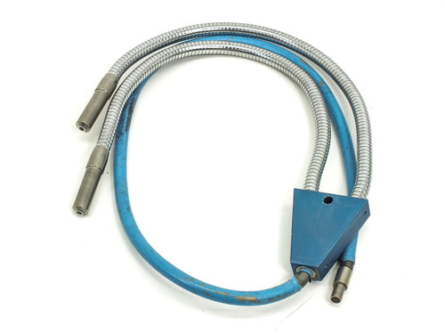 Fiber-Optic Microscope Light Source Flex Cable with Split / Dual Output - As Is
