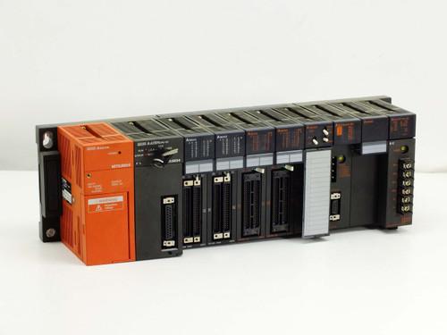 Mitsubishi A1S38B MELSEC-A CPU Base Unit w/ CPU PS Input Ouput D/A Converter etc
