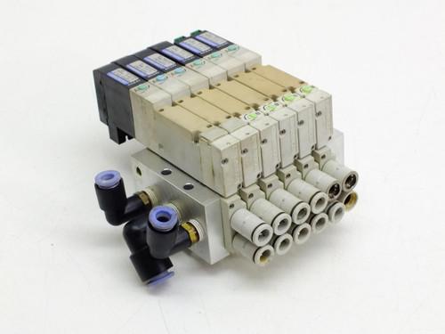 Koganei F10M6AJ Pneumatic Manifold with F10T1-CPL3 & F10T2-CPL3 Solenoid Valves