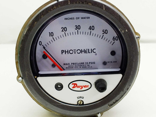 """Dwyer A3060 Photohelic Pressure Switch 0-60"""" Water / Gage 3-in-1 Indicating"""