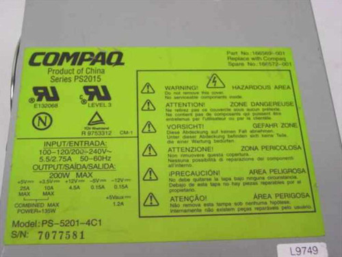 Compaq 200 W Power Supply Deskpro4000 (166572-001)