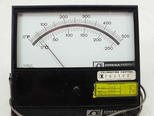 Omega Engineering 7055-J-500 Analog Pyrometer Temperature Type J 0~260°C 0~500°F