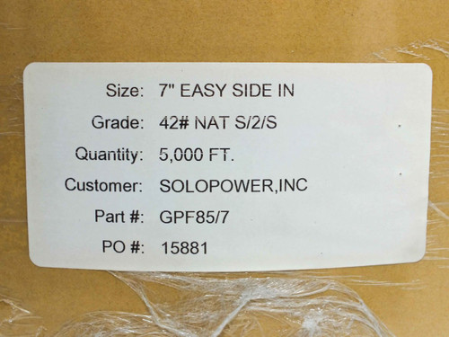 Brown GPF85/7 7in Wide 5000ft Long Roll Packing Paper - Grade 42 NAT S/2/S