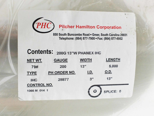 "Pilcher Hamilton Phanex IHC PET PV Top Sheet Flexible Solar 13"" wide x 416' long"