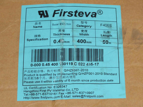 Hangzhou First PV Material PV Solar Cell EVA Film 40mm by 50M 0.4mm Lot of 2 rol