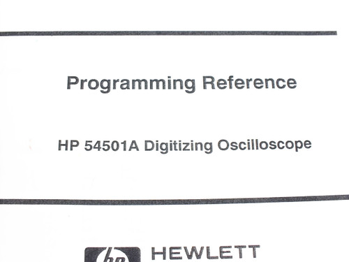 HP 54501A  Digitizing Oscilloscope Programming Reference