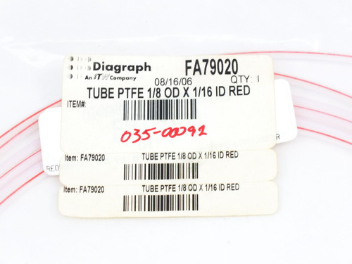 "Linx PTFE Tube 1/8""OD x 1/16""ID Red 6200 Ink Jet Printer Diagraph FA79020"
