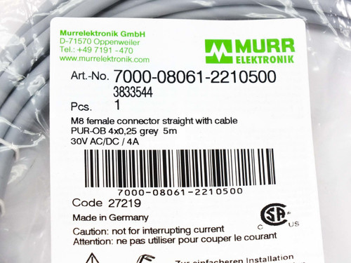 Murr Electronic M8 Female Connector Straight w Cable 5m PUR-OB 700-08061-2210500