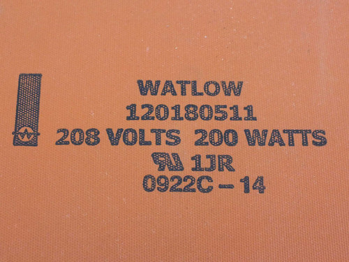 """Watlow 120180511 Flexible Silicone Rubber Heater 12"""" x 18"""" 208 Volts 200 Watts"""