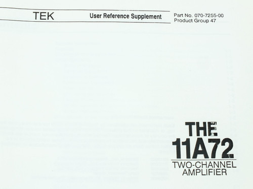 Tektronix 11A72  Two-Channel Amplifier User Reference Supplement
