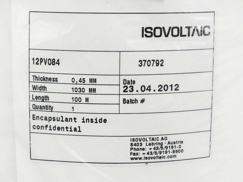 Isovoltaic 12PV084100M Long 0.45MM Thick 1.03M Wide Solar Panel Encapsulant Roll