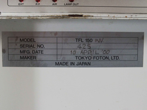 Tokyo Foton TFL 150 UV Light Curing System - Cracked/Missing Cover - As-Is