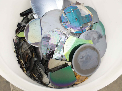 Silicon Wafer  150 Pounds of Assorted Broken and Whole - with 30 GAL HDPE Tank