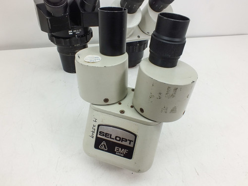 Lot of 3   Assorted Microscope Heads -AS IS- DAMAGED- Olympus, Parco & Selopt