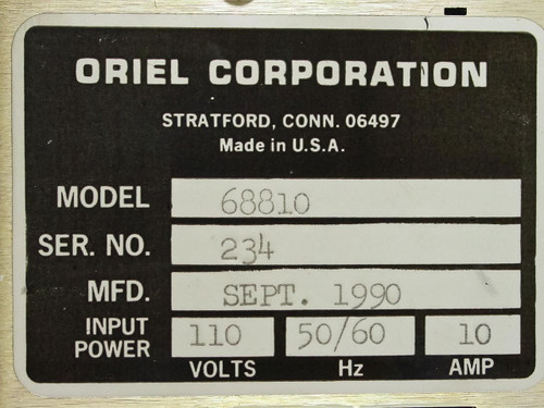 Oriel 68810 0~500 Watt HG ARC Lamp Power Supply - Burnt Part - As-Is / For Parts