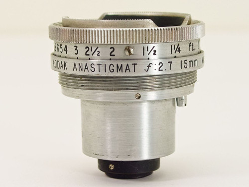 Kodak F2.7 15mm Anastigmat S-Mount Movie Camera Lens - AS IS