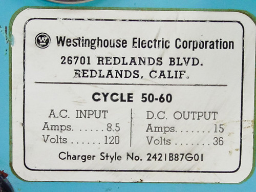Westinghouse 2421B87G01 36V DC Charger 15A - Bad Rectifier - As Is / For Parts
