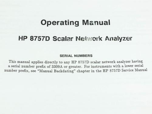 HP 8757D Scalar Network Analyzer - Operating Manual in Binder