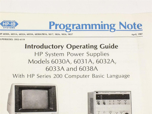 HP 5952-4131 Introductory Operating Guide for 6030A, 6031A, 6032A, 6033A, 6038A