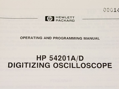 HP 54201A-D  Operating & Programming Manual