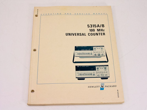 HP 5315A/B 100 MHz Operating & Service Manual for Serial Prefix 1928A - Yellowed