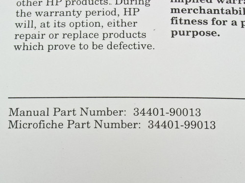 HP 34401-90013 34401A Multimeter Service Guide