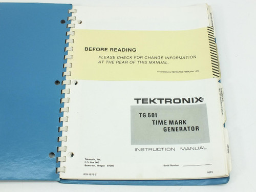Tektronix TG501 Time Mark Generator Instruction Manual - Original Reprint 1976