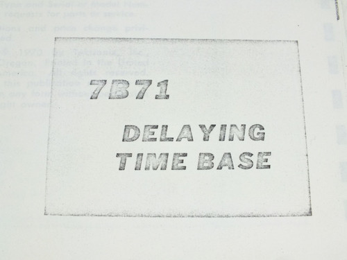 Tektronix 7B71 Delaying Time Base Instruction Manual Copy