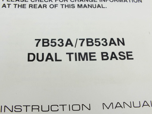 Tektronix 7B53A Dual Time Base  Instruction manual