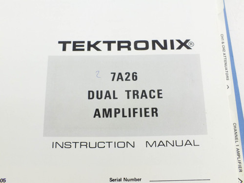 Tektronix 7A26 Dual Trace amplifier  Instruction manual