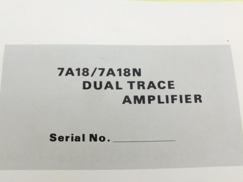 Tektronix 7A18/7A18N  Dual Trace Instruction Manual