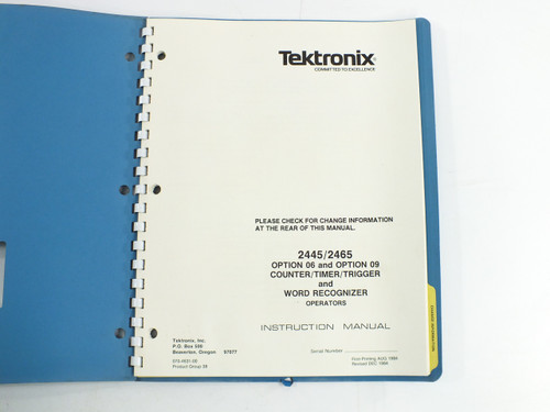 Tektronix 070-4631-00 2445/2465 Operators Manual for Option 06 / 09