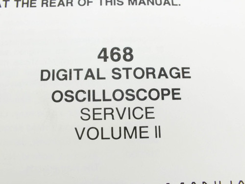 Tektronix 070-3516-00 468 Digital Storage Oscilloscope Service Manual Volume II