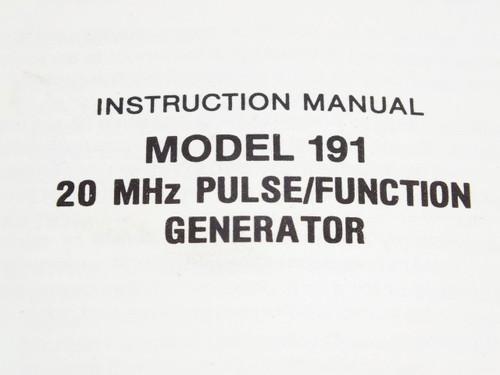 Wavetek 191  Instruction Manual