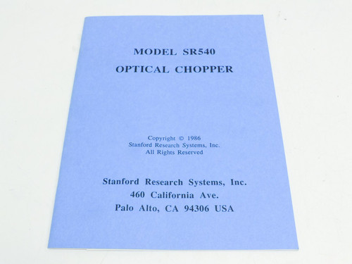 Stanford Research Systems SR540  Service Manual