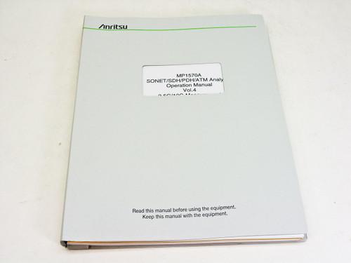 Anritsu Opeartion Manual vol. 4 2e edition MP1570A Sonet/SDH/PDH/ATM Analyzer