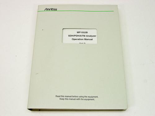 Anritsu MP1552B SDH/PDH/ATM Analyzer  Operation Manual vol. 2