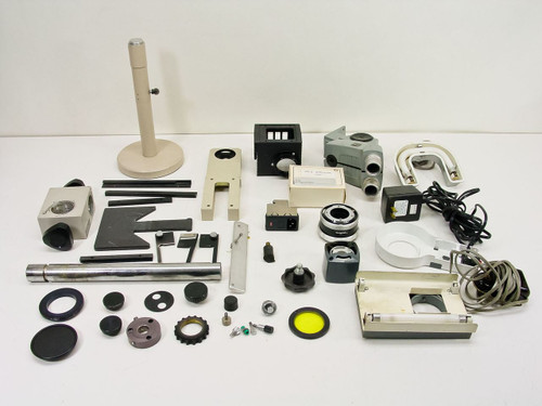 Generic Lot of Parts for Microscopes - Lights, Heads, Knobs, Posts - As Is
