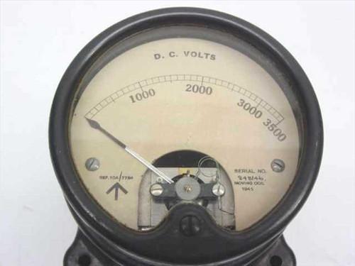 Black 3500V DC 0-3500 Volt Meter with Resistor As Is