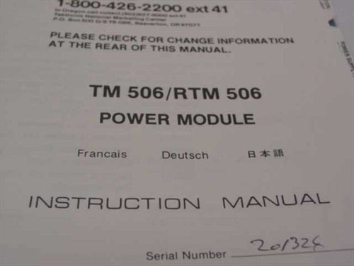 Tektronix 070-1786-02  TM 506/ RTM 506 Power Module Manual