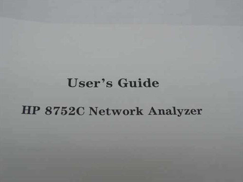 HP HP 8752C Network Analyzer User's Guide 08752-90135