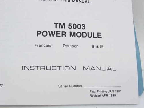 Tektronix 070-2955-00  TM 5003 Power Module Instruction Manual