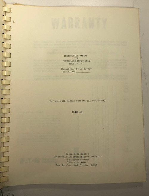 Ailtech/Eaton 1-500783-330 Instruction Manual for Controlled Input Unit CIU-7