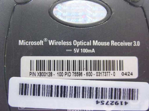 Microsoft X800128 Standard Wireless Optical Mouse Receiver 3.0