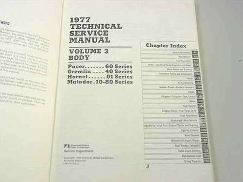 AMC 1977 AMC Technical service manual Vol 3 Body (77057)