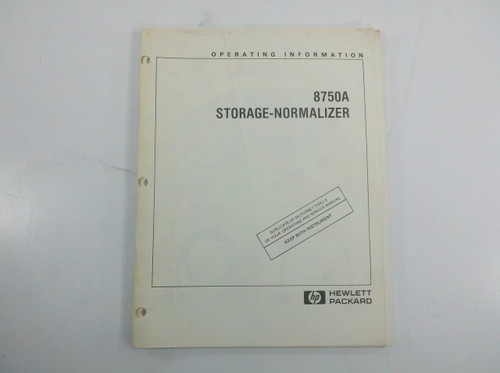 HP 08750-90016 8750A Storage Normalizer Operating Information Manual