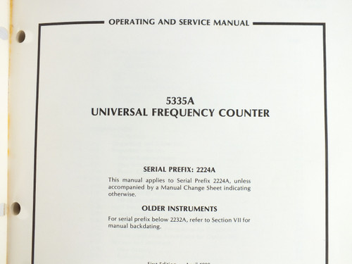 HP 05335-90021 5335A Universal Frequency Counter - Operating & Service Manual