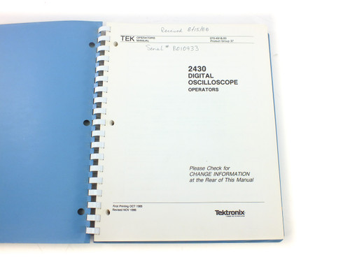 Tektronix 070-4918-00 2430 Digital Oscilloscope Operator's Manual - 1980's